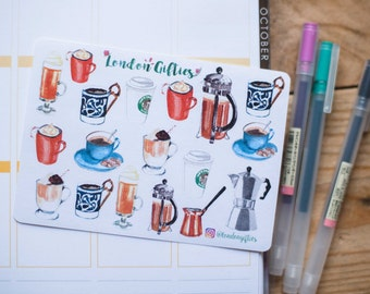 Coffee lover - decorative watercolour planner stickers suitable for any planner -287-