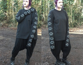 Optical Extra Long Sleeve top, Hand sewn, Plus Size.