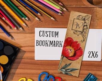 Custom initial bookmark, personalized bookmark, vintage floral bookmark download, printable bookmark with initial, custom digital file