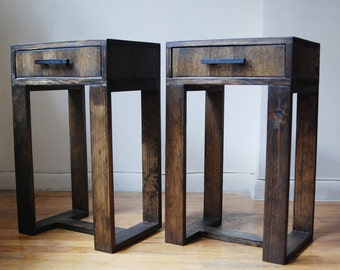 Pair of Reclaimed Wood Thin Leg Nightstands, Side Table, End Table with Drawer and Black Wooden Handle- Dark Walnut