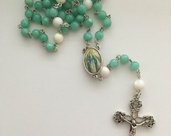 Catholic Teal/Light Green and White Our Lady of Grace Rosary