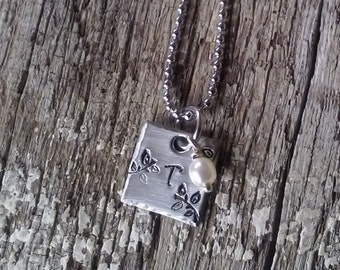 Stainless steel hand stamped initial square necklace