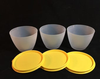 Vintage Tupperware Clear Refrigerator Bowls With Yellow Lids, Set of 3