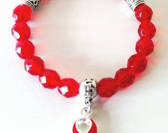 Red Awareness Ribbon Beaded Charm Bracelet Heart Disease HIV AIDS Epidermolysis Bullosa Dui Dare