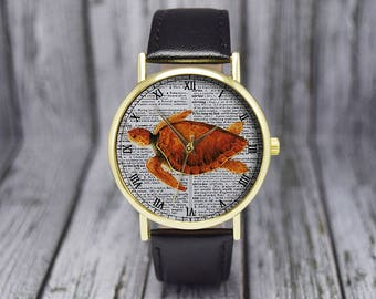 Vintage Sea Turtle Watch | Leather Watch | Ladies Watch | Womens Watch | Gift for Her | Birthday | Wedding | Gift Idea | Fashion Accessories