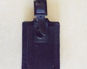 "Tumi Luggage Tag Black Leather 6.5"" long"