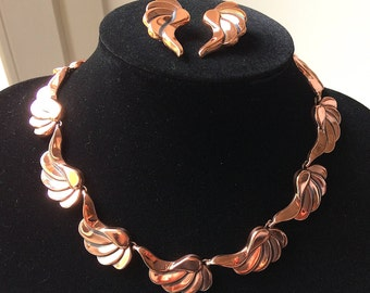 Vintage parure RENOIR, copper necklace and earrings. Vintage high end costume original set! Contemporary elegance. 50s-early 60s - Cod. A224