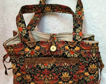 Large Jewel Tone Quilted Handbag, Quilted Fabric Shoulder Bag Purse, Elegant Autumn Color Tote