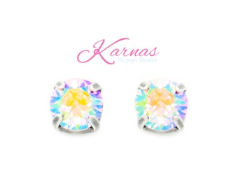 LIGHT ROSE AB 8mm Crystal Chaton Stud or Post Earrings Swarovski Elements *Pick Your Finish *Karnas Design Studio *Free Shipping*