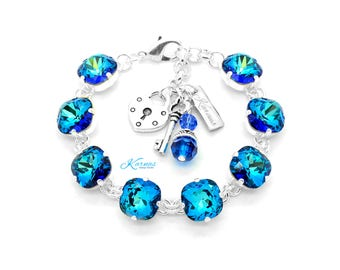 BERMUDA  BLUE 12mm Cushion Cut Pendant Bracelet Made With Swarovski Elements *Pick Your Finish *Karnas Design Studio *Free Shipping*