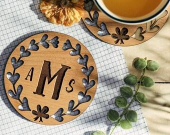 Monogram Coaster, Custom Coasters, Personalized Coasters, Lacquered Wood Coaster, Inexpensive ...