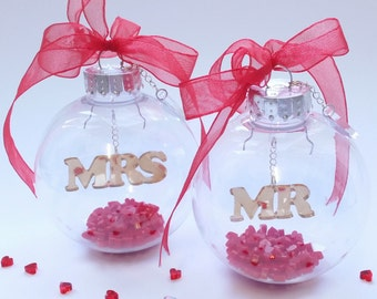 Winter Wedding Baubles - Mr - Mrs - Christmas Wedding Baubles - Set of 2
