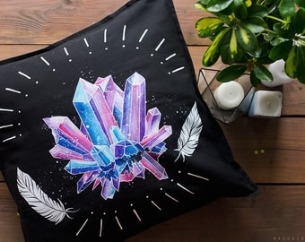 Hand painted Decorative Pillow with Magic Crystals