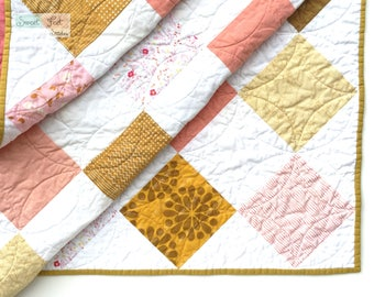 Pink, Gold, & White Patchwork Baby Quilt