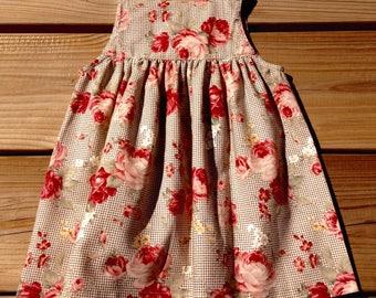 Vichy & Roses Dress / 100% cotton