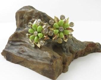 Vintage Lime Green Flower and Rhinestone Earrings