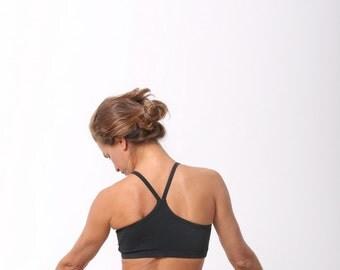 Cotton Stone Wash Criss Cross Yoga Bra In Black