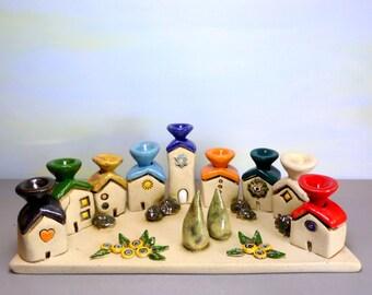 Menorah, Ceramic Menorah, Hanukkah menorah, Hanukkah gift, Handmade Judaica, houses of Israel menorah, Jewish art, Jewish wedding gift