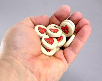 Heart buttons, Ceramic buttons , Buttons for sewing , Buttons for clothing, Ceramic buttons, Craft Supplies , Beading Supplies, Cute buttons