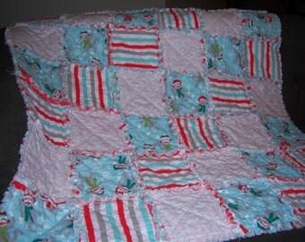 Toddler Blanket-Crib Blanket-Christmas Blanket-Sock Monkey-Crib Quilt-Christmas Quilt-Lap Throw-Gift for Her-Gift for Him-Rag Quilt-