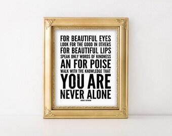 Audrey Hepburn quote. For beautiful eyes. B&W. Instant download print. PDF JPG printable. Subway art. Wall art. Home decor. Poster. Artwork.