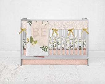 Floral Blush Bedding Set. Baby Bedding. Floral Bedding. 4 Piece Set - Fitted Crib Sheet, Crib Skirt, Rail Guards, Baby Blanket.