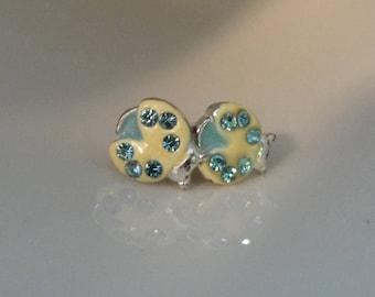 Vintage Lady Bug Earrings Aquamarine Stud Earrings Bug Earrings Lady Bug Jewelry Insect Earrings Bug Jewelry Ladybird Ladybug Jewelry