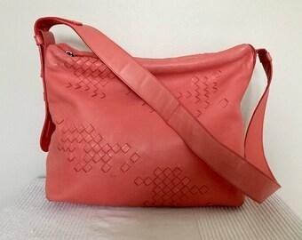 Vintage Authentic Italian Designer BOTTEGA VENETA Woven Leather Satchel Hobo Shoulder Bag