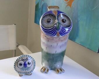 Folk Owl duo, Lechusa Mid Century Modern Studio Art Pottery Owls, Tonala Folk style