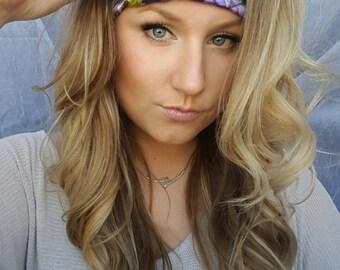Reversible Purple Realtree Camo & Teal Realtree single thick headband