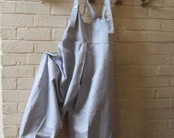 Lagenlook oversized,balloon shaped overalls,dungarees,vintage style ticking ,mother of pearl buttons .Large pocket,Size UK 16/18 , US 14/16
