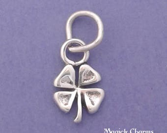 Four Leaf CLOVER Charm .925 Sterling Silver, Irish Shamrock, Good Luck Talisman or Amulet, MINIATURE Small - elp2602