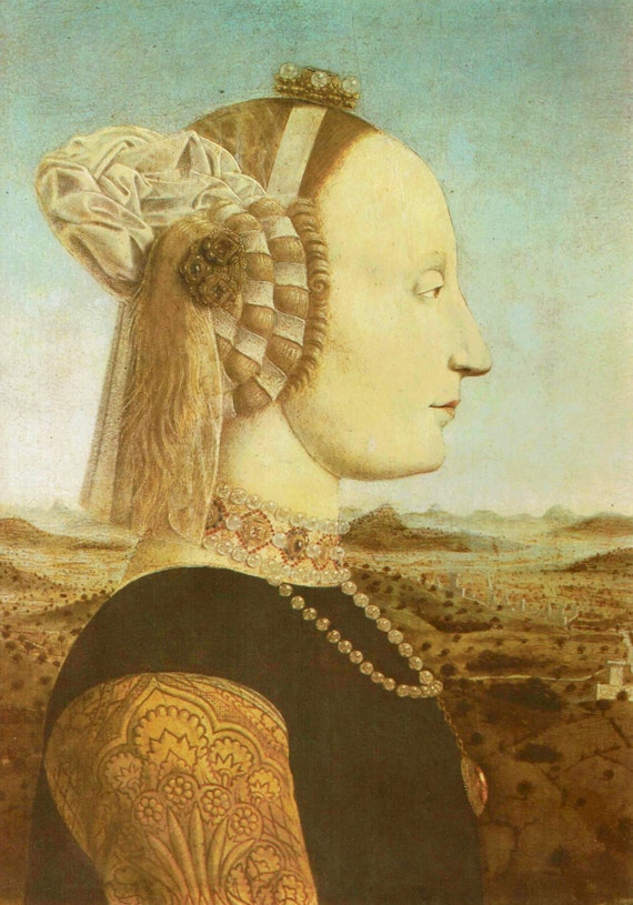 Vintage 1966 print of noblewoman, Battista Sforza, painted by Della Francesca, 15th century, beautiful details, matted & mounted, 11x14 ins