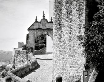 Travel photography, Spain, Mediterranean, Spanish city, tourists, architecture, black & white photography, fine art print - Looking out