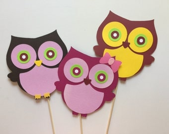Owl Photo Booth Props,Owl Photobooth Props,Woodland Photo Booth Props,Woodland Animals,Woodland Creatures,Birthday Photo Booth Prop Set of 3