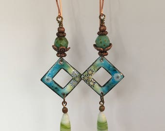 FERN, Beaded Earrings, Drop Earrings, Copper Enamel, Green Earrings, Dangling Earrings, Boho Jewelry, Long Earrings, Twinkling Of An Eye