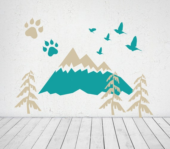 ADVENTURE wall decal MOUNTAIN for kids home decor Nursery Decoration HUGE colorful wall decal CGhome