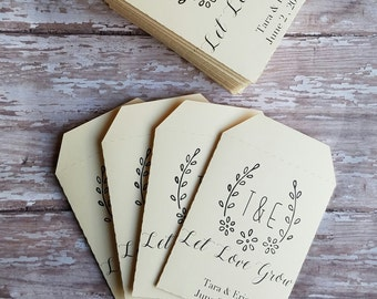 Let Love Grow Seed Packet, Wedding Favor, Bridal Shower, Baby Shower, Seed Packet, Custom Seed Packet, Monogram, flowers, seeds, laurels