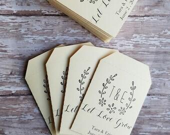 Let Love Grow Seed Packet, Wedding Favor, Bridal Shower, Baby Shower, Seed Packet, Custom Seed Packet, Monogram, flowers, seeds, laurels