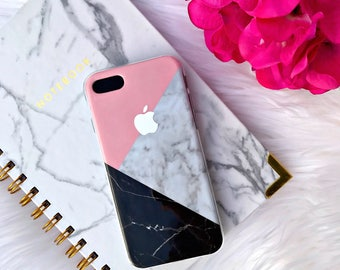 Marble Pattern Phone Case with Apple Logo | iPhone 7 | iPhone 7 Plus Case | Personalized | Gift