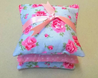 Lavender bags in blue floral and pink, set of three lavender sachets, pretty scented bags, lavender pillows, blue and pink scented bags