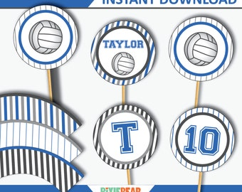 Volleyball Cupcake Toppers - Volleyball Topper - Volleyball Party - Volleyball Birthday - Volleyball Decor - Printables (Instant Download)