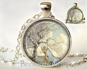 Landscape Necklace,Pendant,Jewelry,,Art Pendant,Photo,Gift,Glass,Gift for Her,Gift