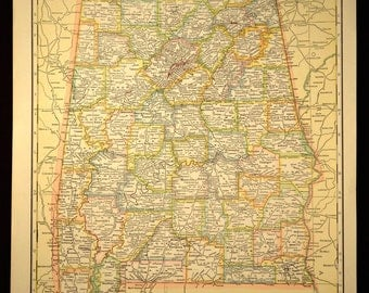 Vintage Alabama Map Etsy - Alabama highway map