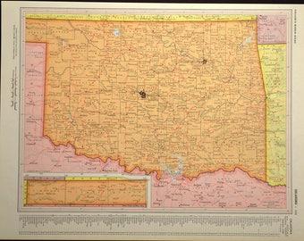 Colorful Vintage Oklahoma Map Oklahoma Wall Art Colored