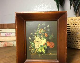 Framed Floral Print // Vintage / Wood Frame
