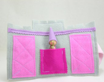 Mini Castle and Princess Roll Up  and Play mat, princess peg doll, wool felt toy, princess toy, felt play mat, roll up and play mat,