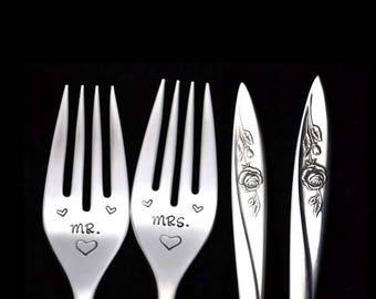 Stamped Fork Mr Mrs Fork Something Old Wedding Silverware Engagement Gifts Under 30, Vintage Floral Dinner Forks Morning Rose
