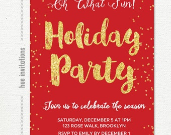 red holiday party invitation, christmas party invitation red gold glitter, printable digital file customized with your information