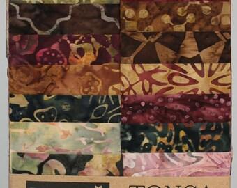 """Vineyard Batik Fabric Strips; 20 pieces; 2.5"""" x 43""""; Timeless Treasures Tonga Treats; Precut Fabric; Batik Fabric Strips; Tonga Vineyard"""